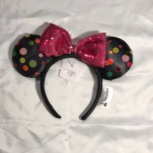Disney Parks Minnie Pink sequin bow rock the dots